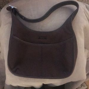 Brown leather and nylon fabric Coach bag